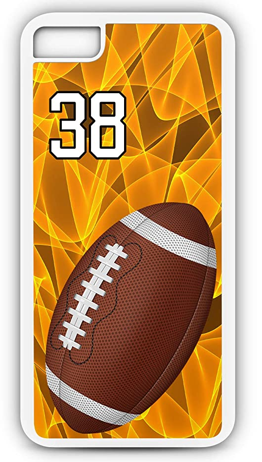 iPhone 8 Plus 8+ Phone Case Football F052Z by TYD Designs in White Rubber Choose Your Own Or Player Jersey Number 38