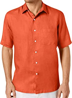 Tasso Elba Mens Large Linen Pocket Button Down Shirt