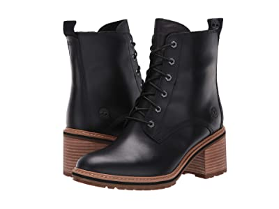 Timberland Sienna High Lace-Up Waterproof Boot (Black Full Grain Leather) Women