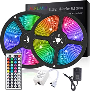 ALLFLASH LED Strip Lights 32.8FT 10M RGB SMD 5050 Tape Lights Kit IP65 Waterproof Flexible Rope Lights Color Changing with 44 Keys Remote Control for Home Christmas Festival Decoration (32.8ft)