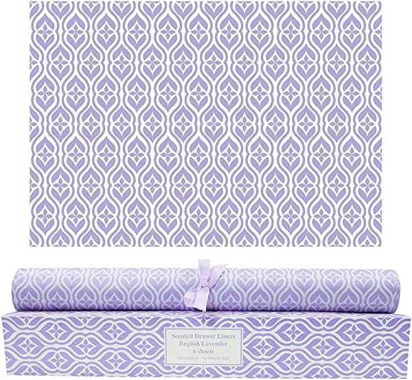 Scentorini Lavender Scented Drawer Liners Scent Paper Liners For Cabinet Drawers Dresser Shelf Linen Closet Perfect For Kitchen Bathroom Vanity 6 Sheets