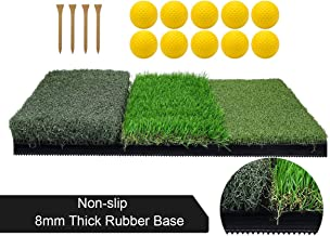 Keenstone Tri-Turf Golf Hitting Mat | Portable Driving, Chipping, Training Aids Golf Grass Mat for Indoor or Outdoor Training