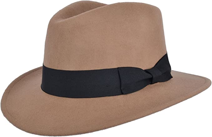 1920s Men's Hats – 8 Popular Styles Crushable Hand Made Gents Indiana Wool Felt Fedora Trilby Hat With Wide Band £26.99 AT vintagedancer.com