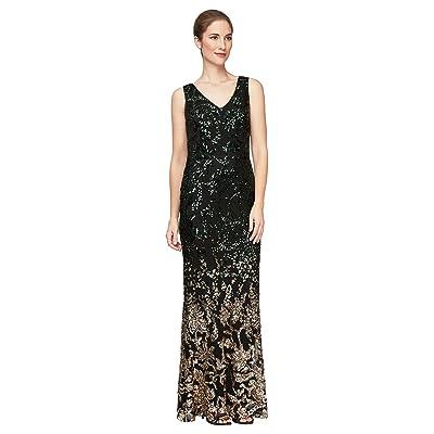 Alex Evenings Long Sleeveless V-Neck Ombre Sequin Dress