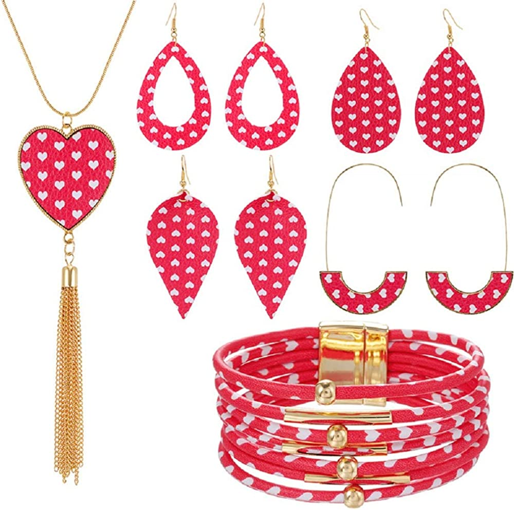 Valentine's Day Love Plaid Print Multiple Colors Leather Jewelry Set Earrings Multi-Layer Bracelet Heart Shape Pendant Necklace for Women Christmas Jewelry Accessories