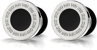 comprar comparacion 8-10MM Modelo Dominante Griego 10MM Círculo Pendientes para Hombres, Acero Inoxidable con Esmalte Negro, 2 Piezas