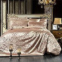 مجموعات غطاء اللحاف، 4 قطع من القطن الحرير والساتان جاكار مجموعة الفراش غطاء لحاف سرير كتان أغطية وسائد ملابس النوم