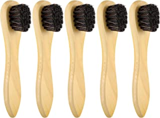 Jovitec 5 Pack Dauber Brush Shoes Polish Brush Horsehair Wooden Care Shine Polish Handle Clean Dauber for Shoes and Bags (Light Yellow), Medium