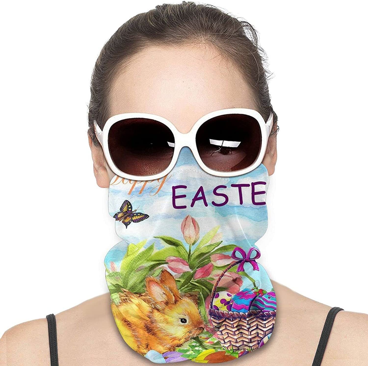 Happy Easter Bunny Eggs Basket Lilies Flowers Round Neck Gaiter Bandnas Face Cover Uv Protection Prevent bask in Ice Scarf Headbands Perfect for Motorcycle Cycling Running Festival Raves Outdoors