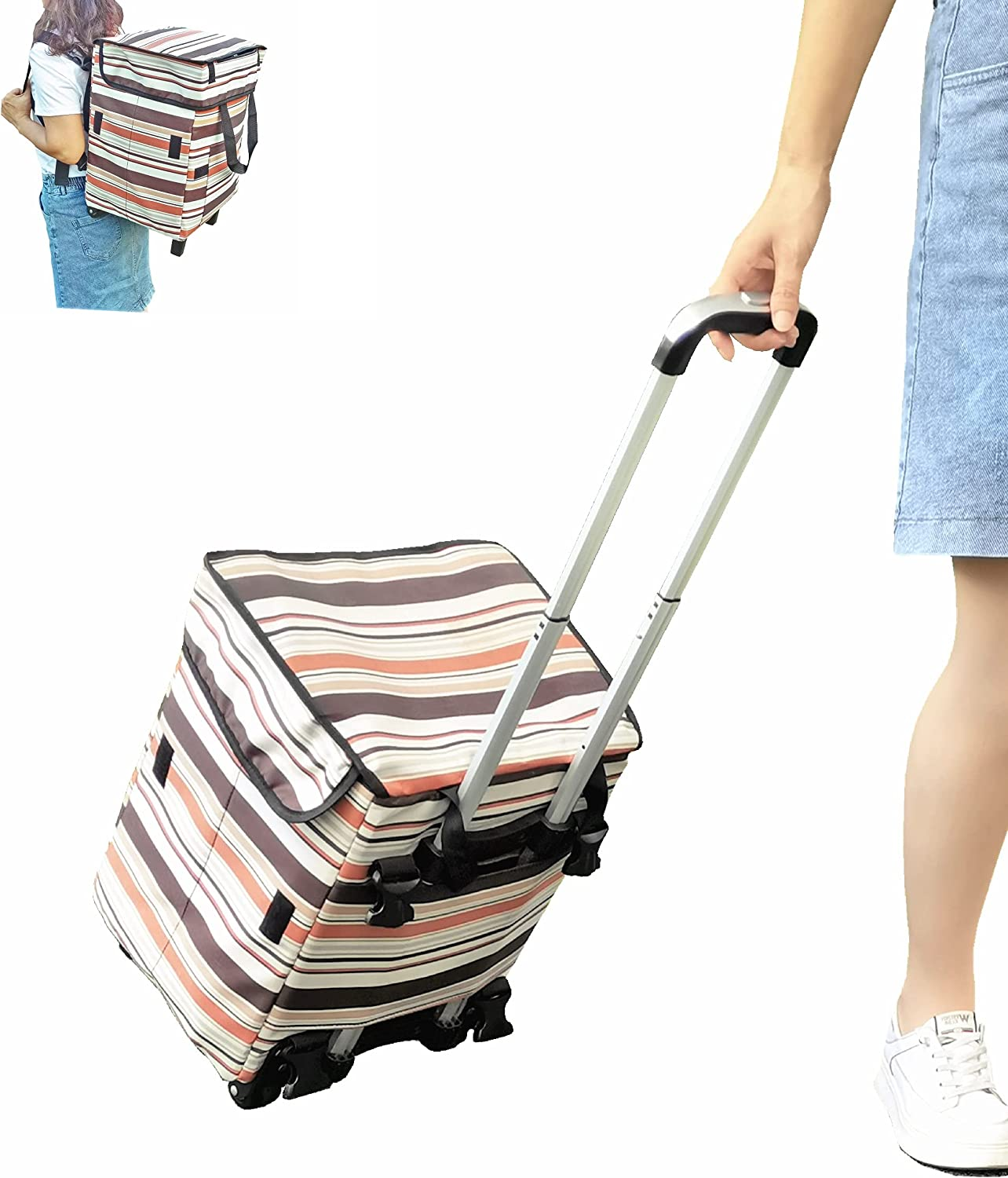 Shopping Cart with Wheels for Groceries - Fineget Kitchen Foldable Rolling Beach Picnic Laundry Reusable Trolley Tote Bag for Lady Women Senior Teacher Duffel Cooking Food Delivery Backpack Straps