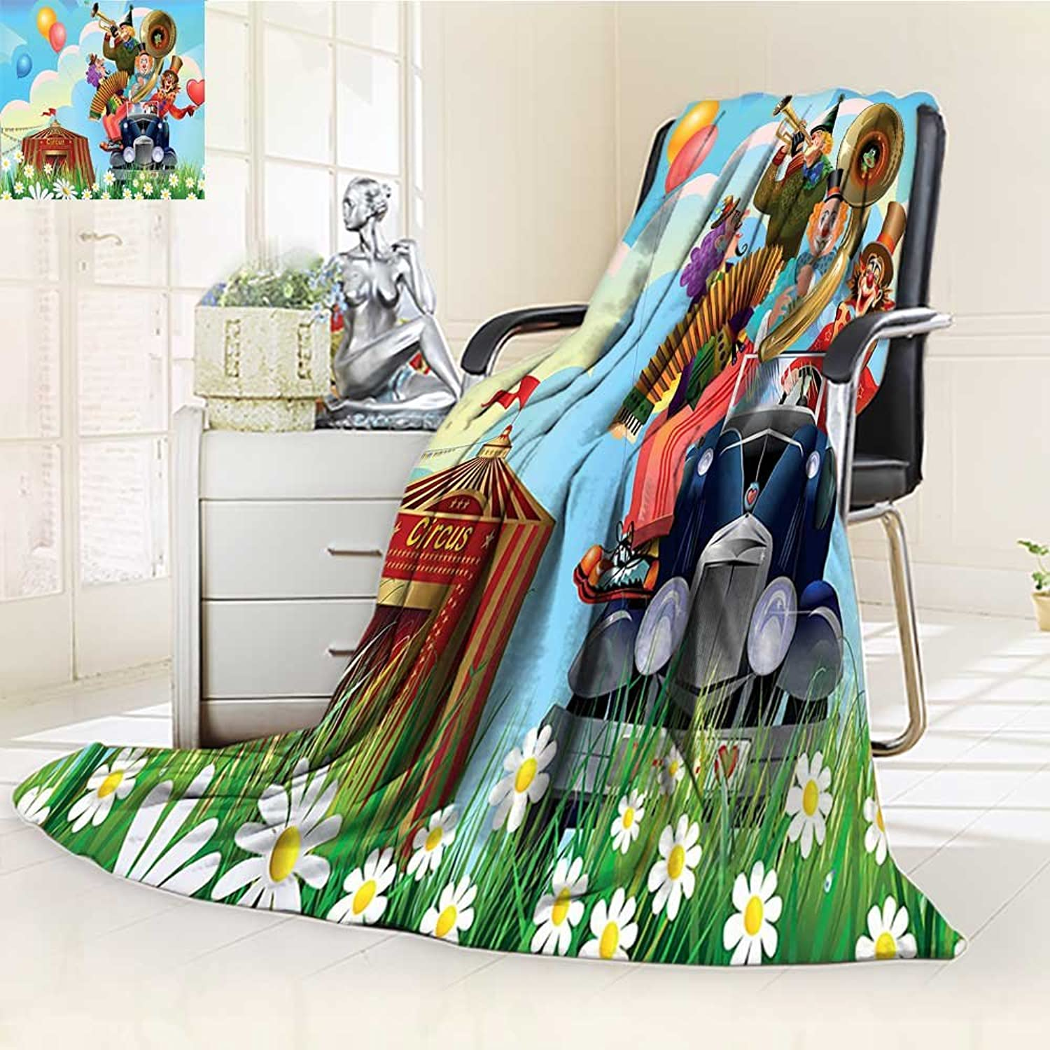 YOYI-HOME Digital Printing Duplex Printed Blanket Car and Circus Big Top Daisies Flowers Heart in Meadow Fun Design bluee Red Yellow Summer Quilt Comforter  W59 x H39.5