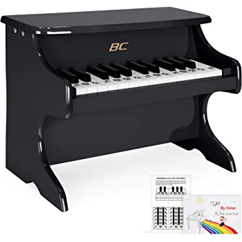 Best Choice Products Kids Toddler Learn-to-Play Mini Piano w/ Note Stickers, Music Book, 25 Full Size Keys - Black