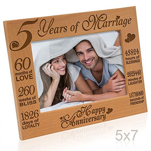 b117c1413ccc5 Kate Posh - 5 Years of Marriage Photo Frame - Happy 5th Anniversary Gift  Wood -
