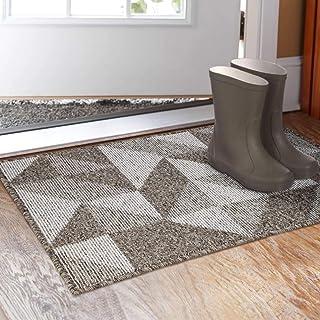 """Indoor Doormat 20""""x 32"""", Absorbent Front Back Door Mat Floor Mats, Rubber Backing Non Slip Door Mats Inside Mud Dirt Trapper Entrance Front Door Rug Carpet, Machine Washable Low Profile-Brown Geome"""