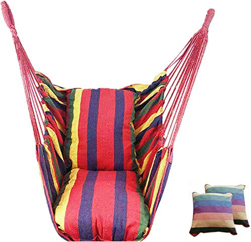 high quality labworkauto Hammock Hanging Rope Portable Hammock Chair Swing popular Seat Portable online Porch Seat - 2 Seat Cushions Included up to 265 Pounds (Rainbow) online