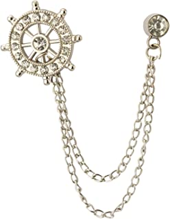 Silver Swarovski Wheel Chain Lapel Pin Badge Coat Suit Collar Accessories Brooch for Men