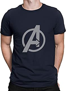 Urban Army Marvel Superhero Avengers Endgame Logo Printed Navy Blue Cotton Round Neck Half Sleeve Tshirts for Men
