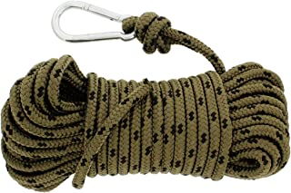 Redneck Convent Nylon Braided Rope & Carabiner 3/8 Inch x 50 Feet 220 lbs Pound – Cleat Tensioner Rigging Device Tie Down Strap Anchor