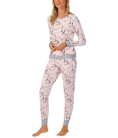 BedHead Pajamas Long Sleeve Crew Neck Joggers Pajama Set (Christmas in Paris) Women