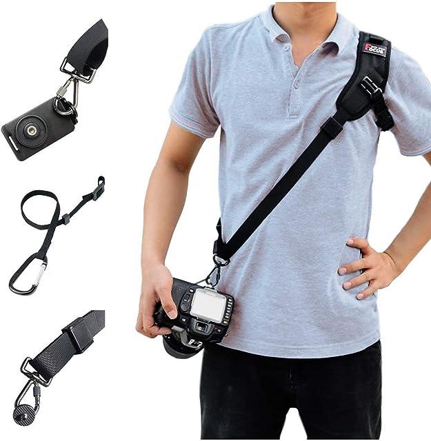 SUPRBIRD Correa de Hombro para cámara Paquete de fotografía Profesional - ampliada Correa para el Hombro con Placa de Montaje de Correa de Seguridad para cámaras SLR réflex Digital (Black)