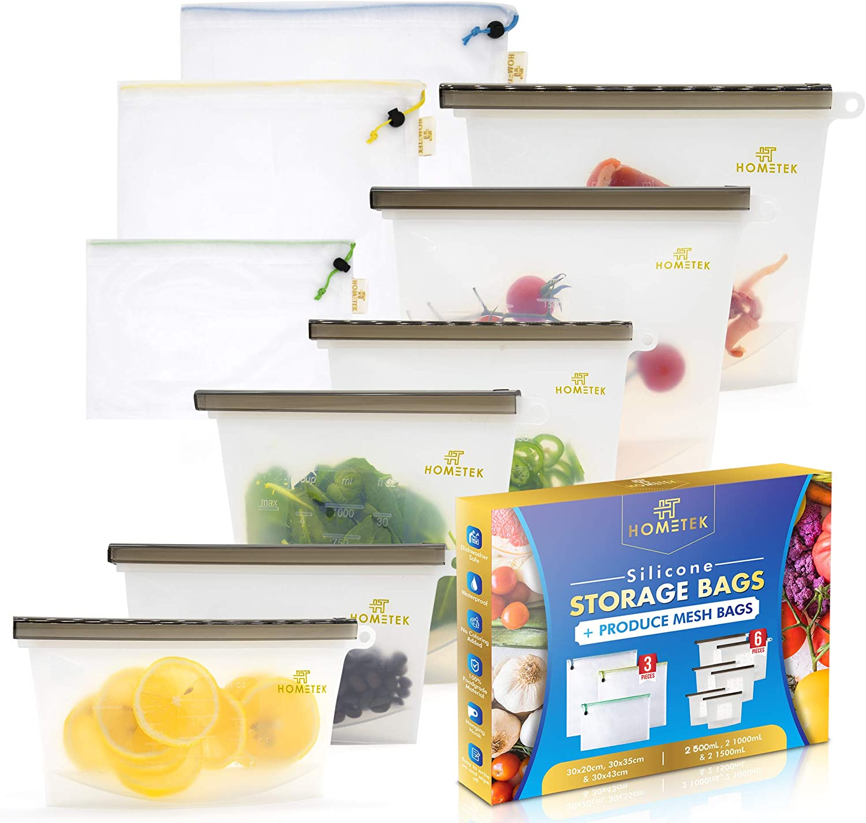 25%OFF HomeTek Silicone Food Storage Bag 6 10 2 oz 高い素材 Bags New