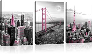 Canvas Prints Black and white City Pink Theme Golden Gate Bridge Bedroom Wall Decoration Canvas Art and living room Bathroom New York City Poster Picture Wall Art Framed Each Piece is 16x24inch