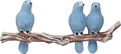 eCraftIndia 3 Blue Birds Sitting on Tree Branch Decorative Key Holder