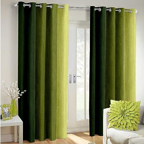 Cozyland Long Crush Solid 2 Piece Polyester Door Curtain Set - 7ft, Green