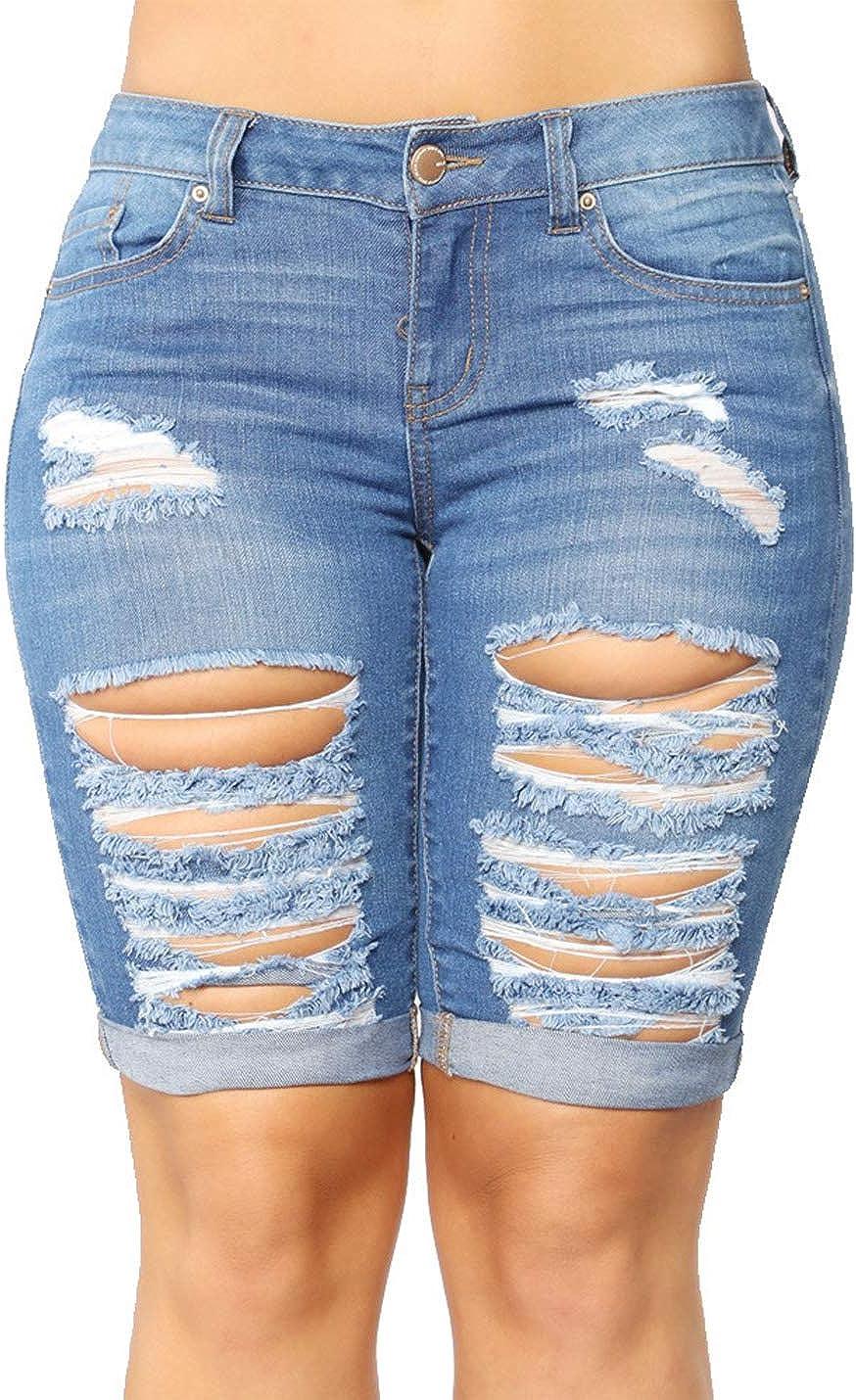 Yimoon Women's Casual Slim Mid Rise Bermuda Jean Shorts Ripped Denim Shorts