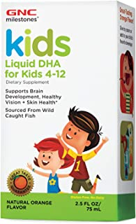 GNC Milestones Kids Liquid DHA for Kids 4-12, Natural Orange Flavor, 2.5oz, Supports Brain Development, Healthy Vision and...