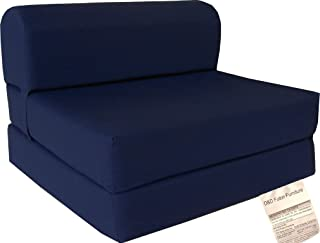 D&D Futon Furniture Navy Sleeper Chair Folding Foam Bed 6 X 32 X 70, Studio Guest Foldable Chair Beds, Foam Sofa, Couch, High Density Foam 1.8 Pounds.