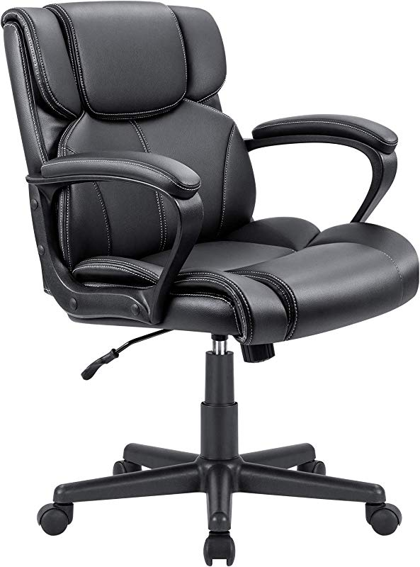 Furmax Mid Back Executive Office Chair Leather Padded Desk Computer Chair With Armrests Ergonomic Swivel Task Chair With Lumbar Support Black