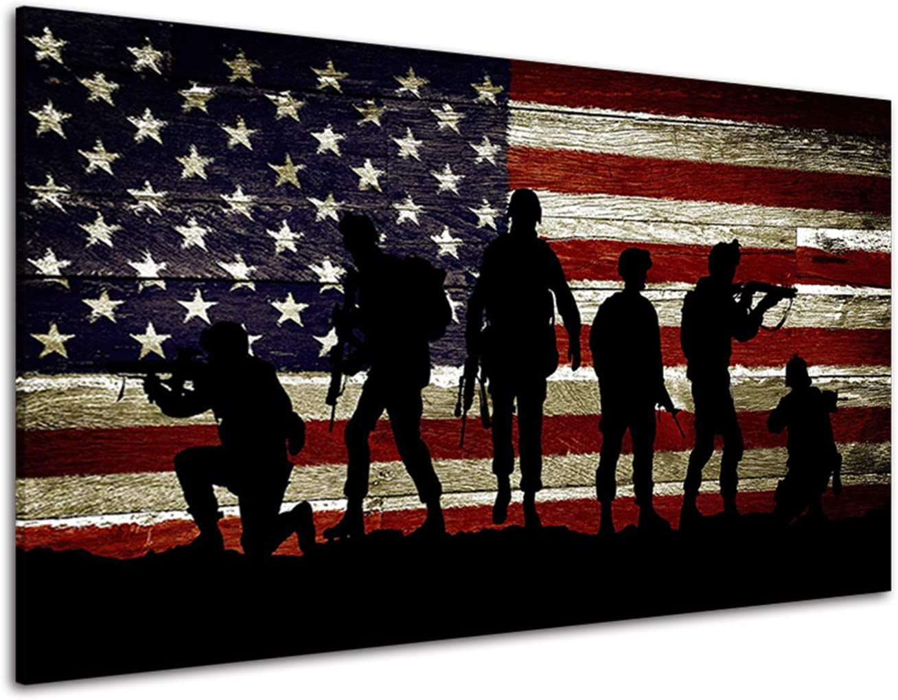 RINWUNS Vintage American Flag Sales Canvas Wall Soldiers Military New mail order Art