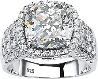 Platinum over Sterling Silver Round Cubic Zirconia Multi Row Halo Engagement Ring