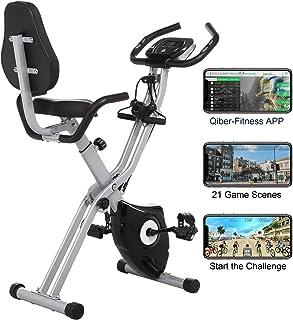 Profun Bicicleta Estática Plegable de Fitness con Respaldo Xbike con App Pantalla LCD 10-Niveles Ajustable para Ejercicio ...