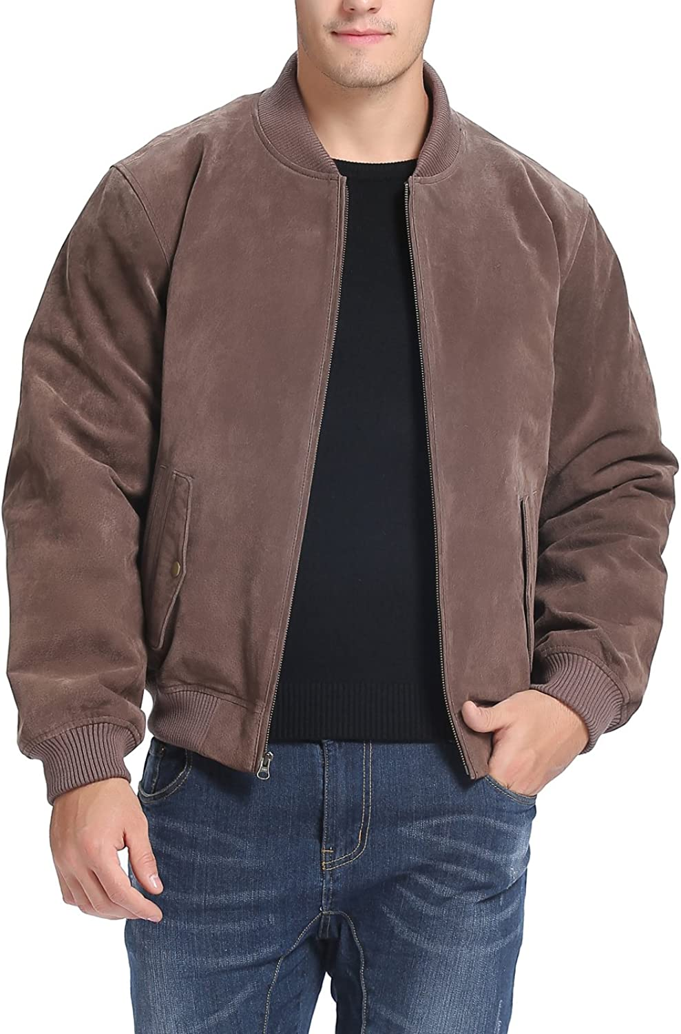 BGSD Men's  Wallace  Suede Leather Bomber Jacket (Regular Big & Tall)