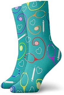 tyui7, Calcetines casuales de diseño médico Calcetines de enfermera de tobillo Calcetines de compresión de vestido corto para mujeres Hombres