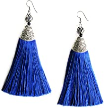 Me&Hz Women Girls Tassel Dangle Earrings Long Fringe Drop Silver Boho Ethnic Earring with Tassels