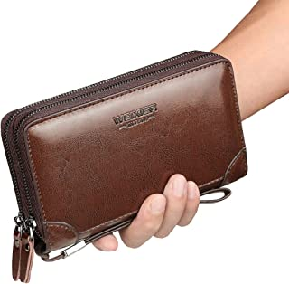 Mens Clutch Bag Handbag Leather Zipper Long Wallet Business Hand Clutch Phone Holder