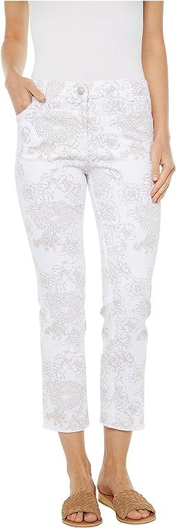 Fine Lines Floral Printed Five-Pocket Jeans in White/Camel
