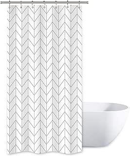 Riyidecor Striped Herringbone Chevron Shower Curtain Panel 36x72 Inch Plastic Hooks 12 Pack White Geometric Decor Fabric Bathroom Set Polyester Waterproof