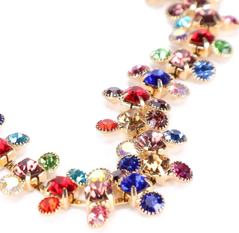Blanco 3 Filas 1 Yarda Cadena de Diamantes de imitaci/ón DIY Cadena de Diamantes de imitaci/ón de Cristal para Ropa Vestidos de Novia Accesorios de decoraci/ón