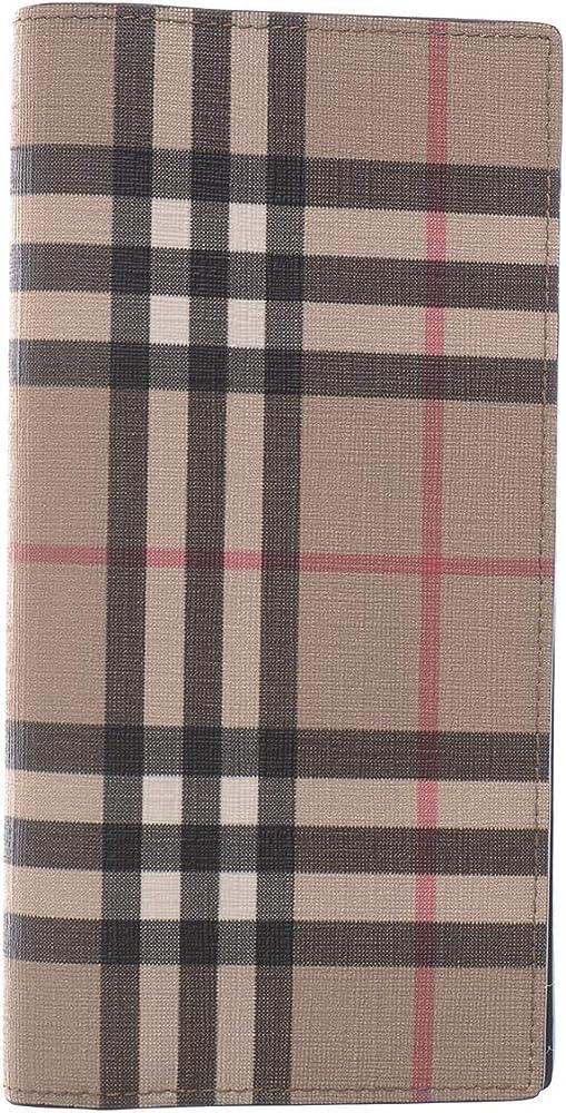 Burberry cavendish, portafoglio continental, in pelle e tessuto e-canvas motivo vintage check da donna 80166131