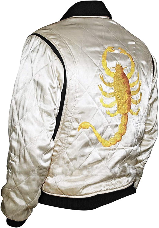 Men's Ryan Gosling Retro Scorpion Logo Quilted Satin Varsity Bomber Drive Jacket
