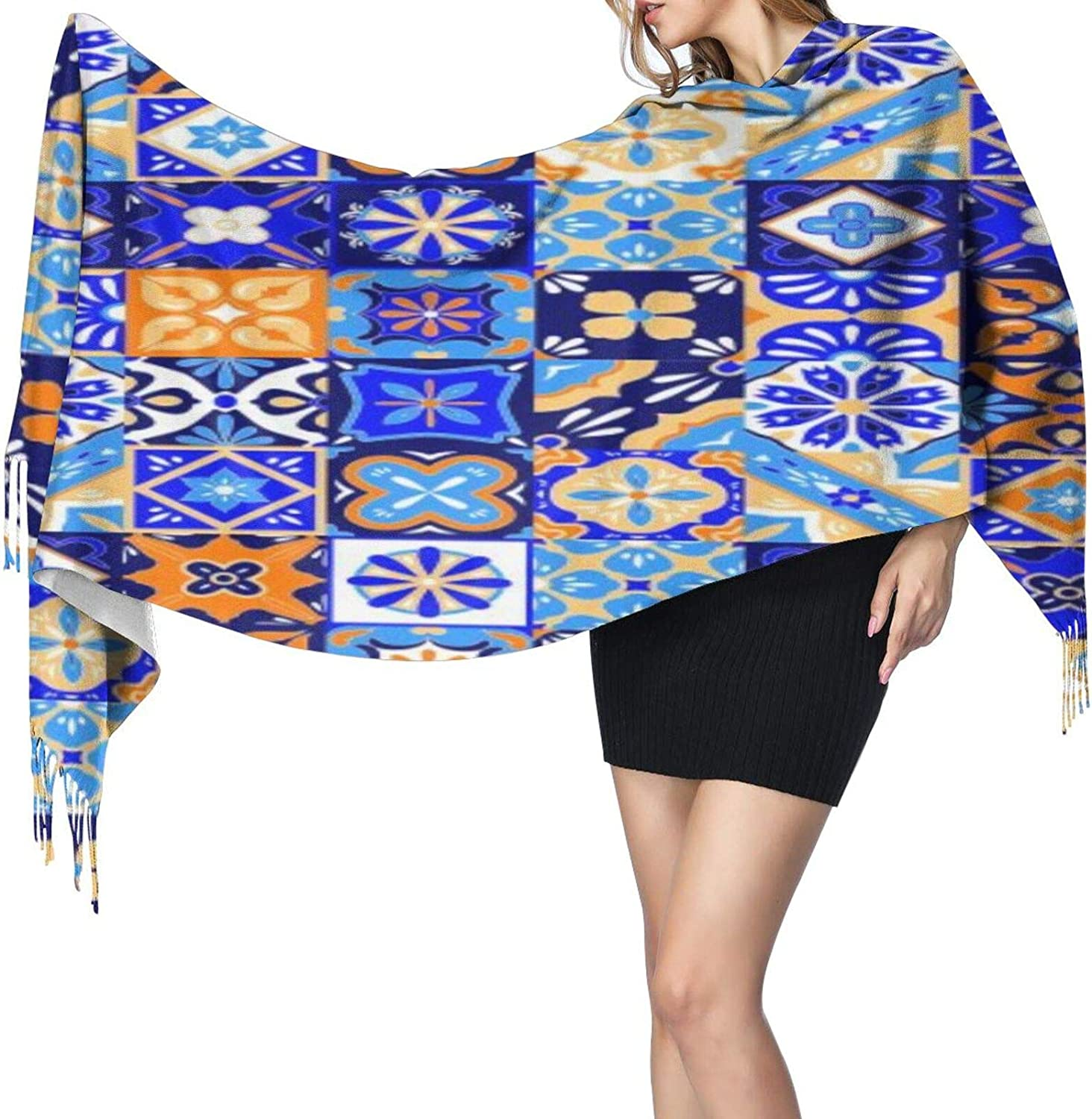 Cashmere fringed scarf Mexican Stylized winter extra large scarf