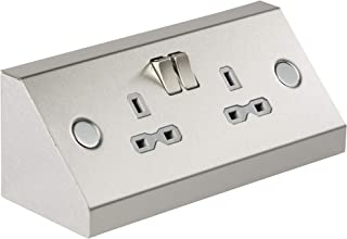 Knightsbridge 13A 2G Mounting DP Switched Socket - Stainless Steel with grey insert