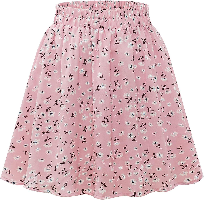 Floral Mini Skirts for Women Womens Floral Printed Ruffle Skirt Summer Boho a line Skirt for Women Skater Flowy Skirt Mini