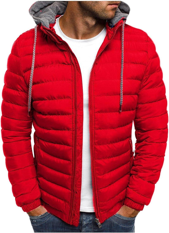 XUNFUN Winter Coats for Men Lightweight Breathable Hooded Puffer Jacket Windproof Warm Packable Down Jackets Zipper Pockets