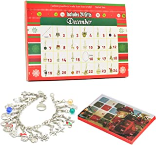 Palmhill Advent Calendars for Girls, 2019 DIY Bracelet Necklace with 22 Charms Set Fashion Jewelry Advent Calendars for Little Boys