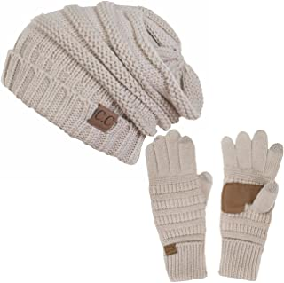 ScarvesMe 2pc Oversized Cable Knit Slouchy Beanie and Matching Gloves Set